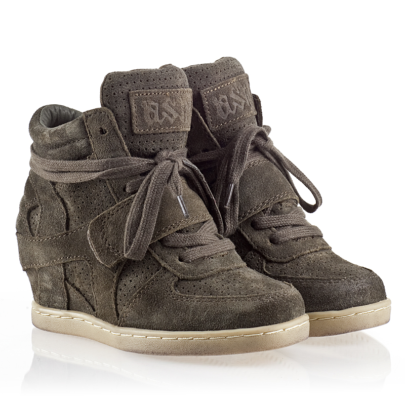 ASH  Babe Kids Wedge Sneaker  Military  Suede 330505 (350) Final Sale