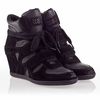 Ash Bea Womens Wedge Sneaker Black Suede/Black Leather 330345 (002)