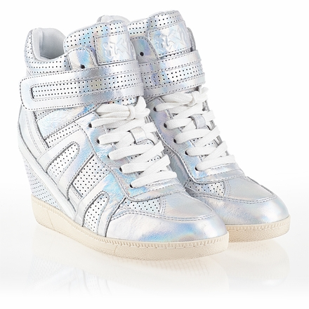 Ash  Beck Womens Wedge Sneaker Silver  Iridescent  Leather 340071 (040)