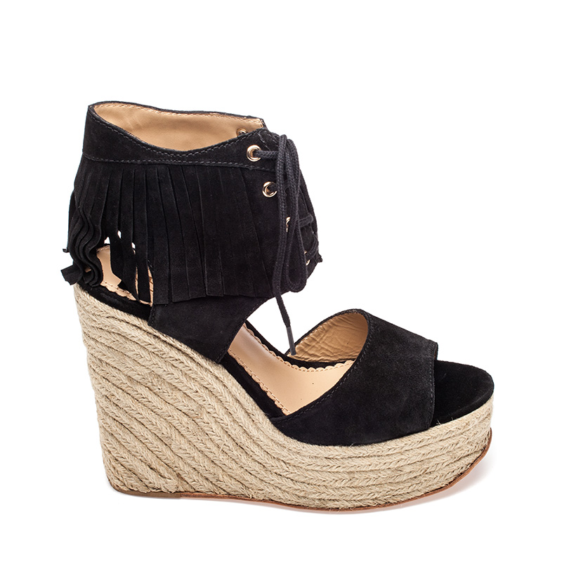 Ash Belinda Womens  Wedge Sandal Black Suede  360139  (001)