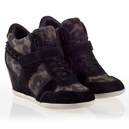 Ash  Bisou Bis Womens Wedge Sneaker Black Cookie Suede 340061 (005)