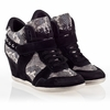 Ash  Bisou Womens Wedge Sneaker Black Roccia 340058 (979)