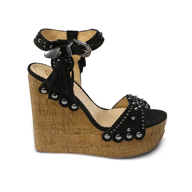 Ash Bliss Womens  Wedge Sandal Black Desert Suede  360073  (979)