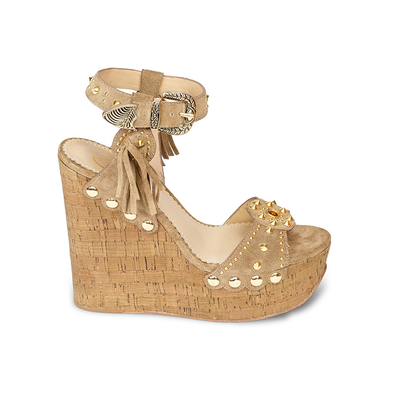 Ash Bliss Womens  Wedge Sandal Wilde Desert Suede  360073  (208)