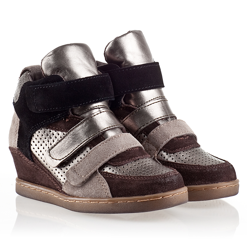Ash  Boogie Kids Wedge Sneaker  Piombo Leather and Woodash Suede 330473 (916) Final Sale