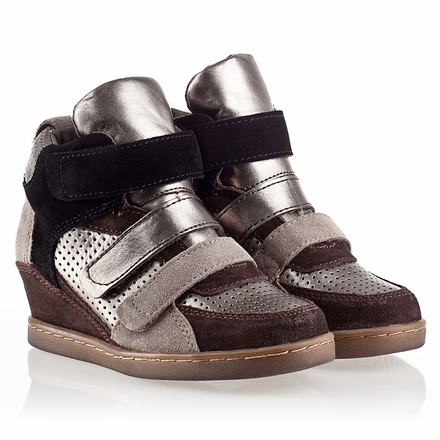 Ash  Boogie Kids Wedge Sneaker  Piombo Leather and Woodash Suede 330473 (916)