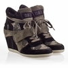 Ash Bowie Womens Wedge Sneaker Black and Topo Suede 330257 (007)