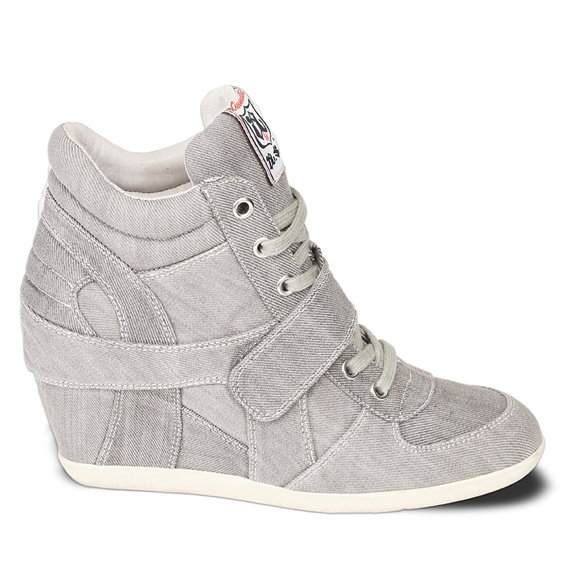 Ash  Bowie Womens Wedge Sneaker Grey Denim 360044 (020)