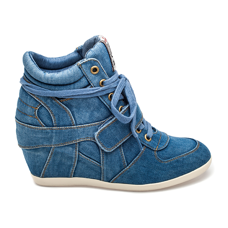 Ash  Bowie Womens Wedge Sneaker Light Blue Denim 360045 (400)