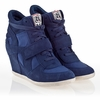 Ash  Bowie Womens Wedge Sneaker Navy  Suede & Canvas 340055 (410)
