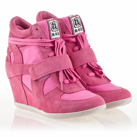 Ash  Bowie Womens Wedge Sneaker Pink  Suede & Canvas 340055 (695)