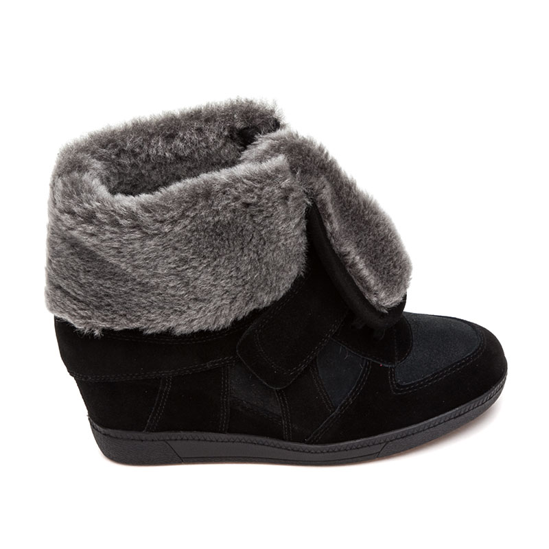 Ash Brendy Wedge Sneaker Black Fur 360351 (002)