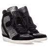 Ash  Brendy Womens Wedge Sneaker Black Suede & Pewter Snake Print Leather  350351 (011)