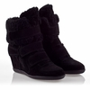Ash  Brizz Womens Wedge Sneaker Black  Suede 330517 (002)