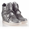 Ash  Cool Ter Womens Wedge Sneaker Silver Gun  Leather 340278 (043)