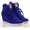 Ash  Cool Womens Wedge Sneaker Sapphire  Suede & Canvas 340089 (405)