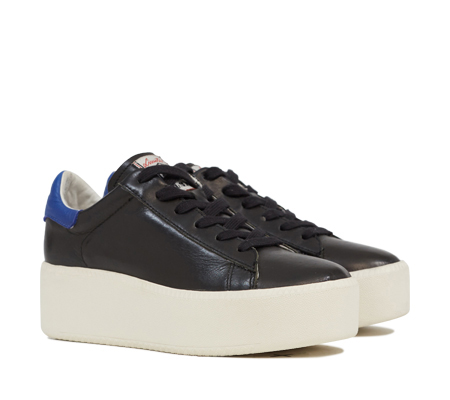 Ash Cult Womens Lace Up  Sneaker Black and Cobalt Leather 350011 (965)