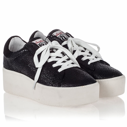 Ash Cult Womens Lace Up  Sneaker Black Crackle Leather 350005 (964)