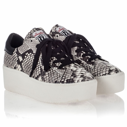 Ash Cult Womens Lace Up  Sneaker Roccia Black Snake Print  Leather 350007 (247)