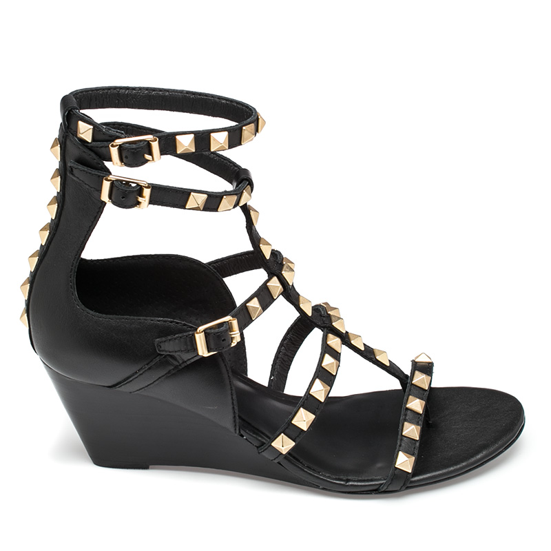 Ash Dafne Womens Black Leather Wedge Sandal  360207 (001)