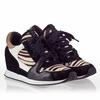 Ash Dean Bis Womens Wedge  Sneaker Black Suede & Cream Hair Calf 340123 (967)