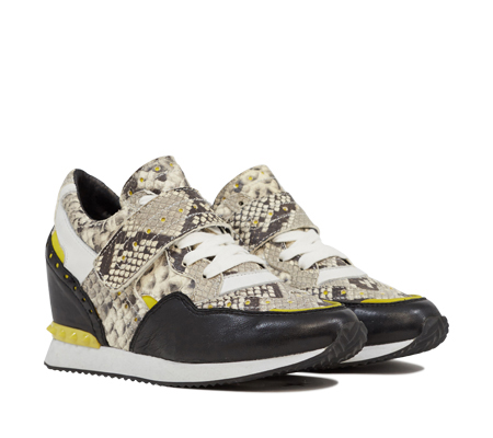 Ash Detox Womens Wedge Sneaker Black & Yellow Snake Print Leather 350017 (016)