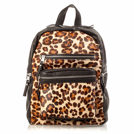 Ash Domino Womens Backpack Leopard Hair Calf 124106 (263)