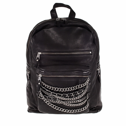 Ash Domino Womens Chain Backpack Black Leather  124040 (001)