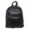 Ash Domino Womens Chain Backpack Black Matte Leather  125072 (002)