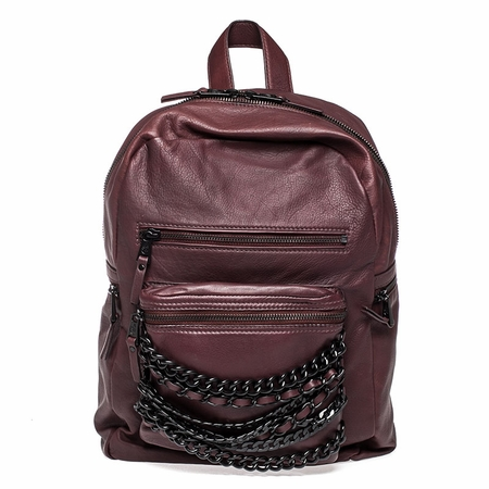 Ash Domino Womens Chain Small Backpack Dark Wine Nappa Leather  125072 (641)