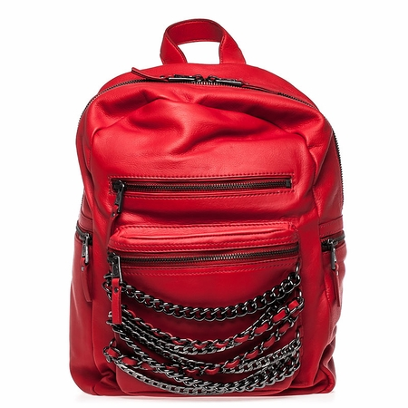 Ash Domino Womens Chain Backpack Red Leather  125071 (645)