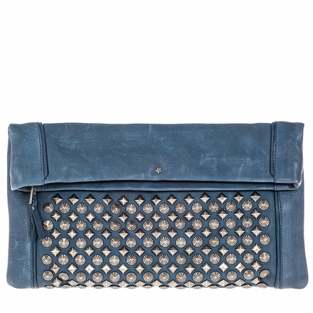 Ash Domino Womens Studded Clutch Denim Leather  124045 (460)