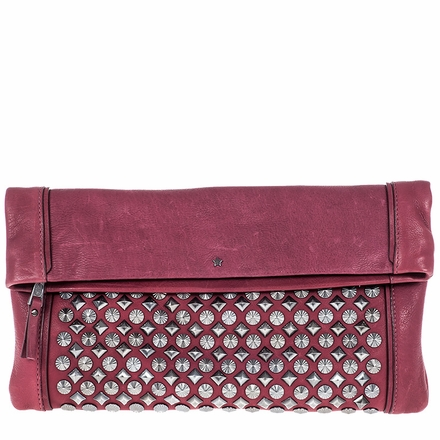 Ash Domino Womens Studded Clutch Wine Leather  124045 (001)