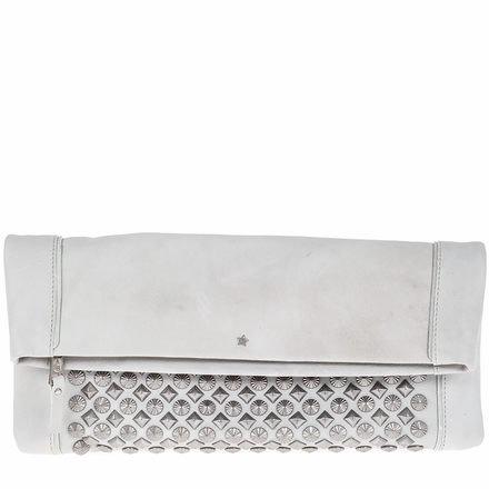 Ash Domino Womens Studded Clutch Winter White Leather  124045 (110)