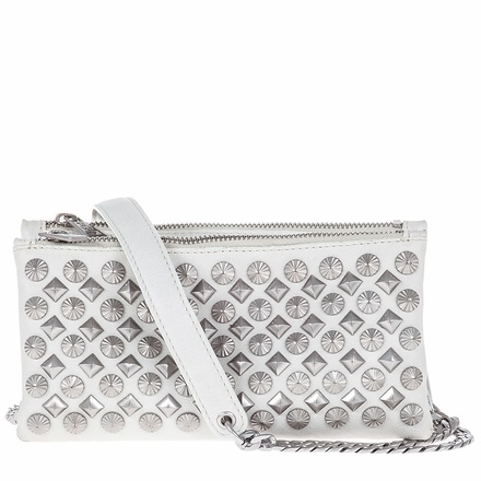 Ash Domino Womens Studded Crossbody Winter White Leather  124044 (110)