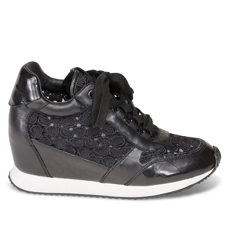 Ash Dreamlace Womens  Sneaker  Black Leather and Lace 360060  (964)