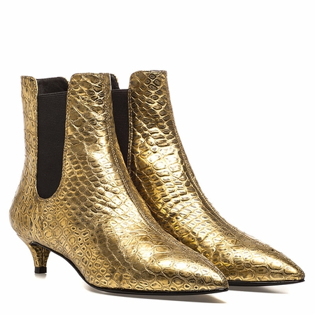 """<font size=""""2"""" color=""""red"""">NEW</font><p>Ash Ego Womens Boot Gold Embossed Metallic Leather 350451 (710)"""