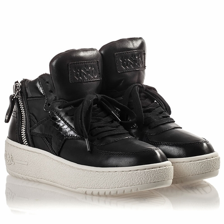 Ash Fly Womens Lace Up  Sneaker Black Leather 350026 (002)