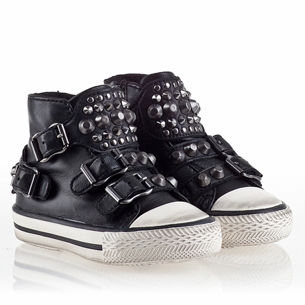 Ash  Frog  Toddler Sneaker Black Leather 330483  (001)