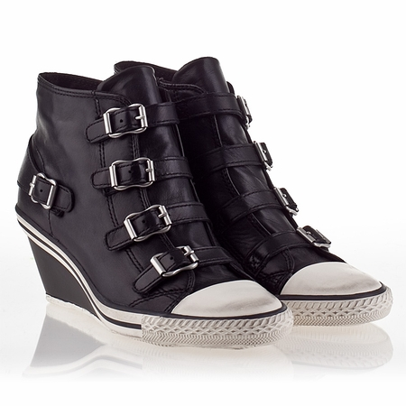 Ash  Genial  Womens Wedge Sneaker Black Leather 340004 (001)