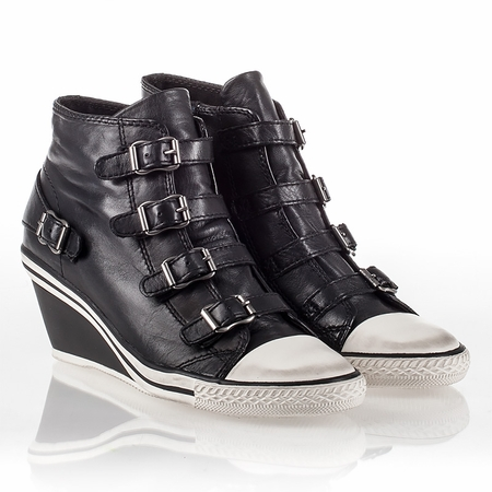 "<font size=""2"" color=""red"">NEW</font><p>Ash Genial Womens Wedge Sneaker Black Leather 340527 (001)"