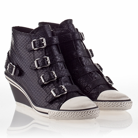 Ash  Genial  Womens Wedge Sneaker Black Snake Print Leather 330421 (001)