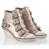 Ash  Genial  Womens Wedge Sneaker Skin Platine Leather 340005 (293)