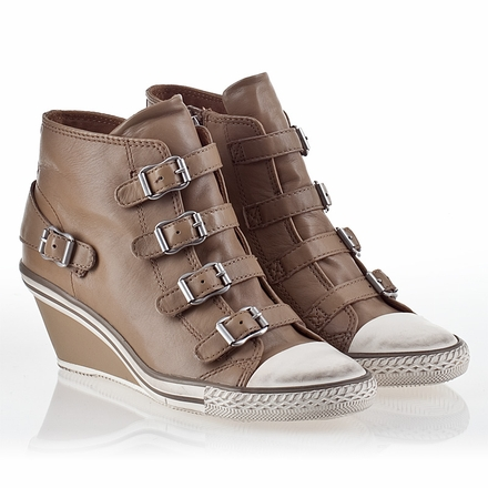 Ash  Genial  Womens Wedge Sneaker Taupe Leather 340004 (270)