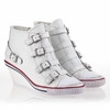 Ash  Genial  Womens Wedge Sneaker White Leather 340004 (100)