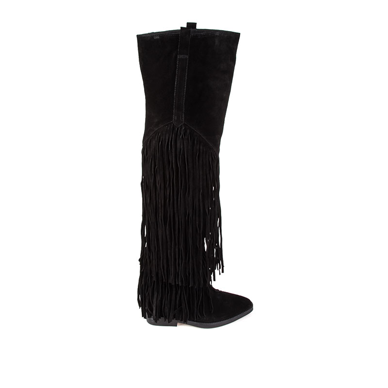 Ash Gipsy Womens Black Suede Over The Knee Fringe Boot 360292 (001)