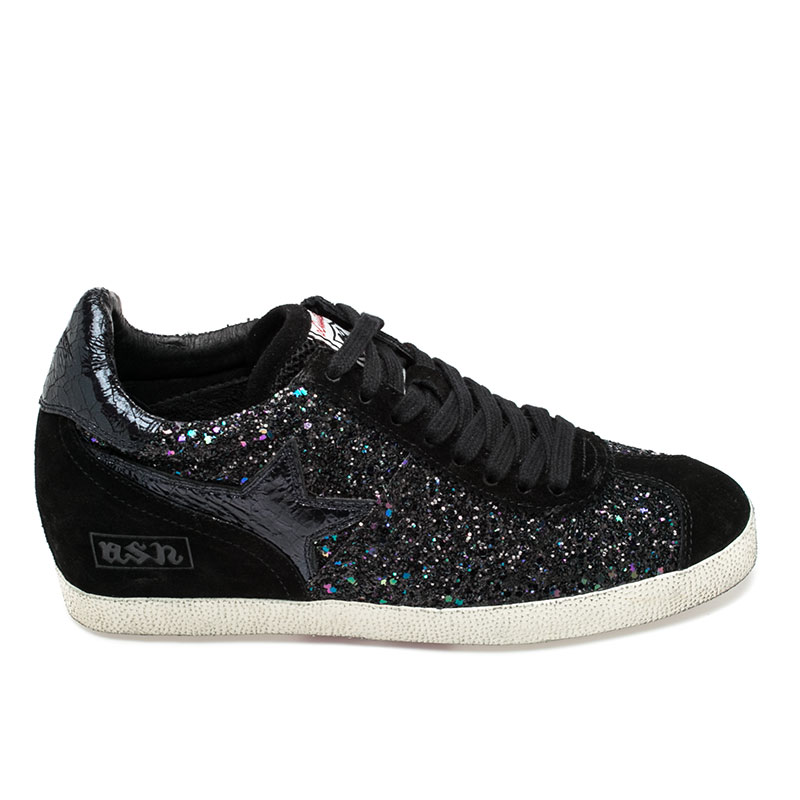 Ash  Guepard Womens Wedge Sneaker Black Midnight Suede  360297 (972)