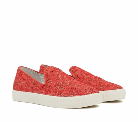 Ash Illusion Womens Slip On  Sneaker Coral Floral Print Lace 350169 (635)