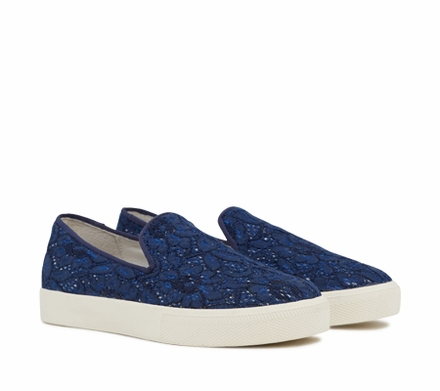 Ash Illusion Womens Slip On  Sneaker Indigo Floral Print Lace 350169 (473)