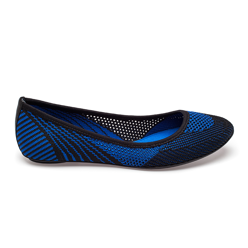 Ash Imagine Ballet Flat Black & Sapphire Mesh Fabric 360002 (965)